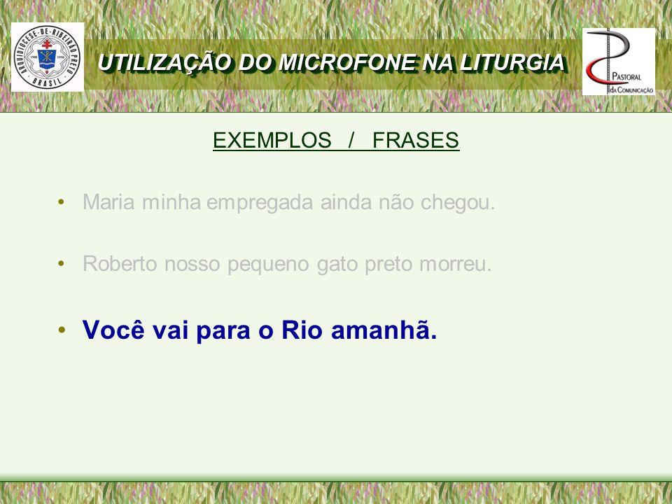 Você vai para o Rio amanhã.