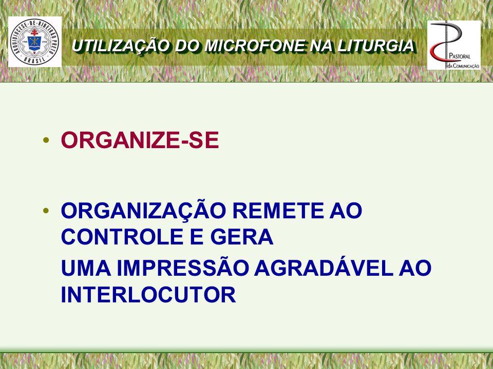 ORGANIZE-SE ORGANIZAÇÃO REMETE AO CONTROLE E GERA