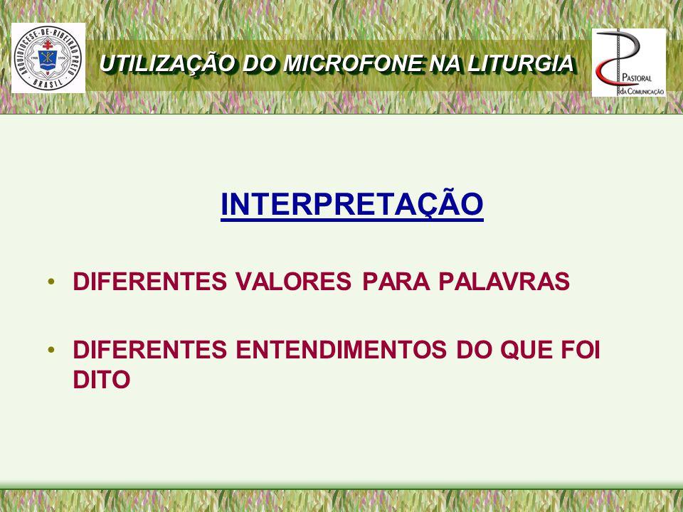 INTERPRETAÇÃO DIFERENTES VALORES PARA PALAVRAS