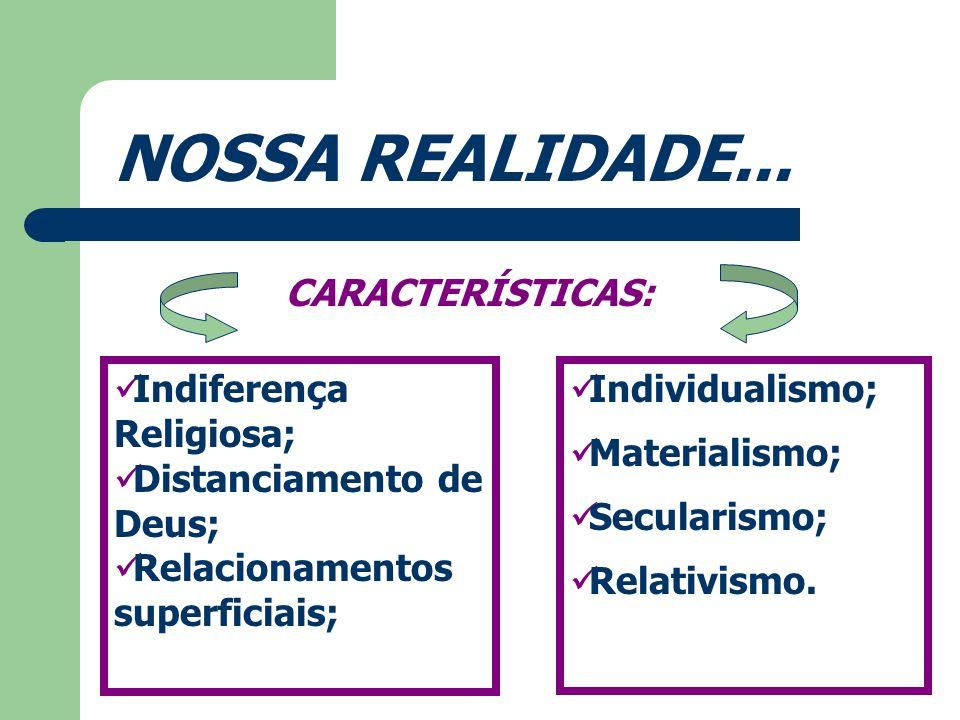 NOSSA REALIDADE... CARACTERÍSTICAS: Indiferença Religiosa;