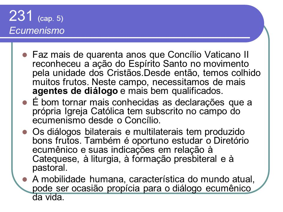 231 (cap. 5) Ecumenismo