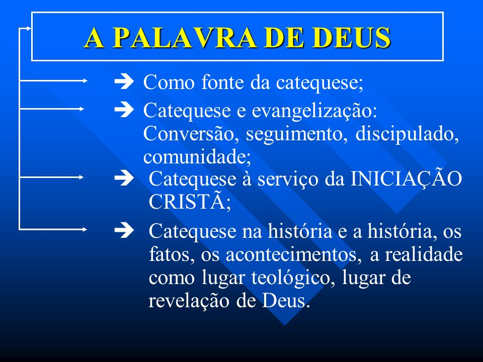 A PALAVRA DE DEUS Como fonte da catequese;