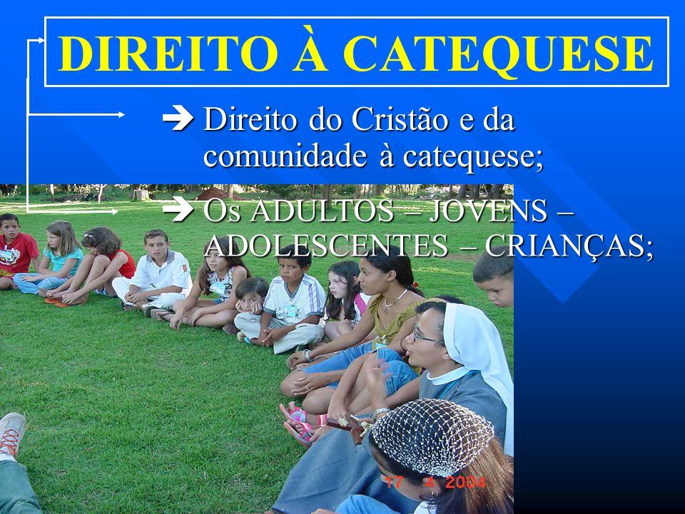 DIREITO À CATEQUESE Direito do Cristão e da comunidade à catequese;