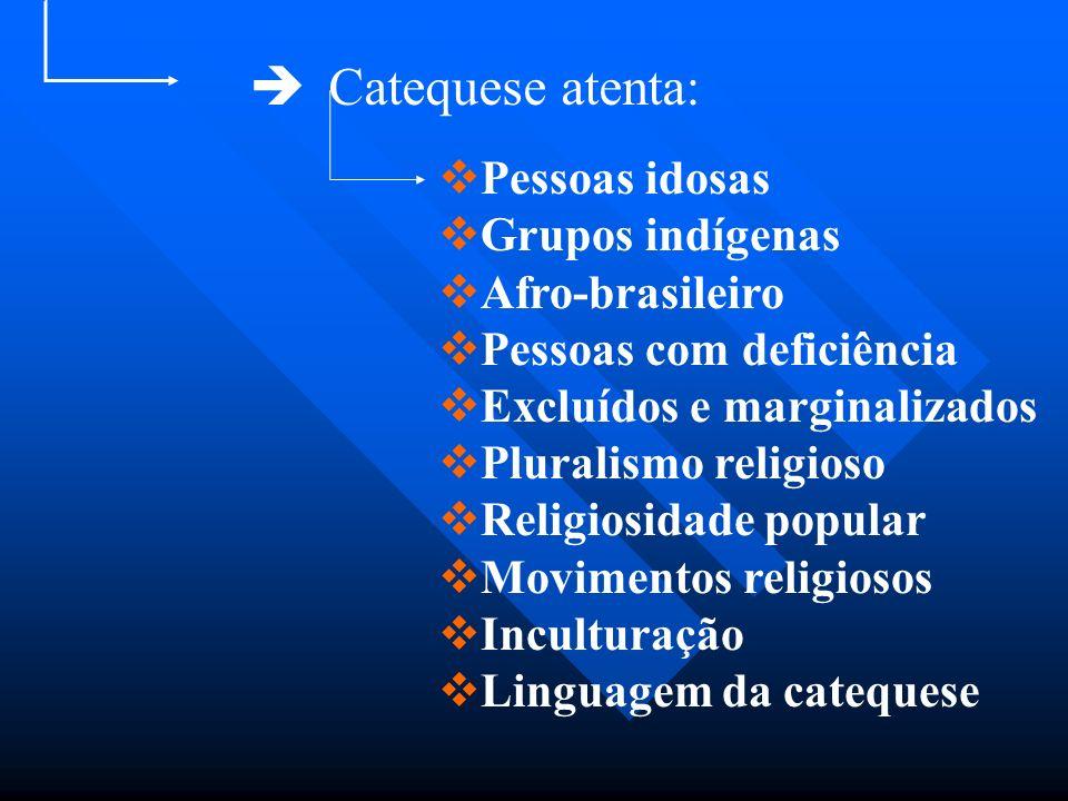 Catequese atenta: Pessoas idosas Grupos indígenas Afro-brasileiro