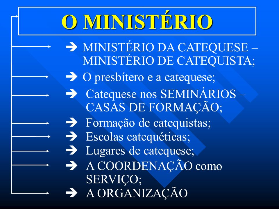 O MINISTÉRIO MINISTÉRIO DA CATEQUESE – MINISTÉRIO DE CATEQUISTA;