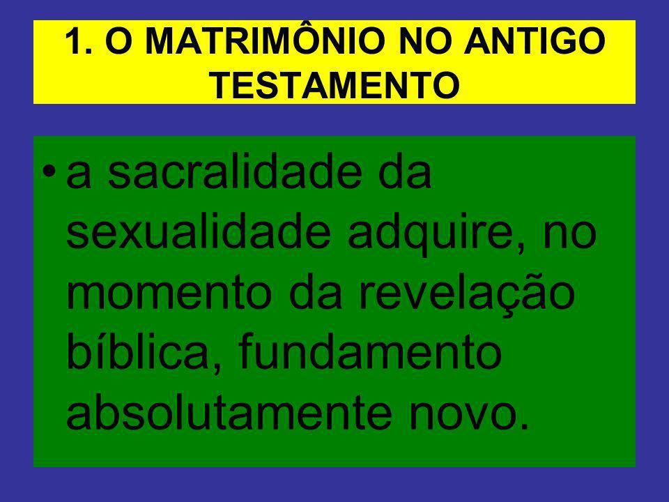 1. O MATRIMÔNIO NO ANTIGO TESTAMENTO