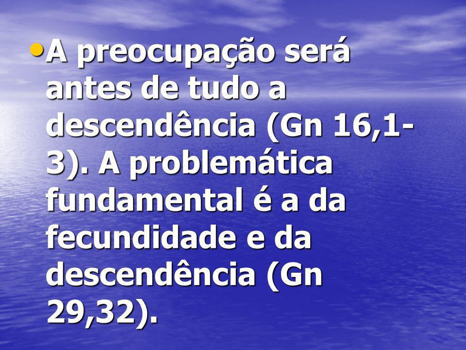 A preocupação será antes de tudo a descendência (Gn 16,1-3)