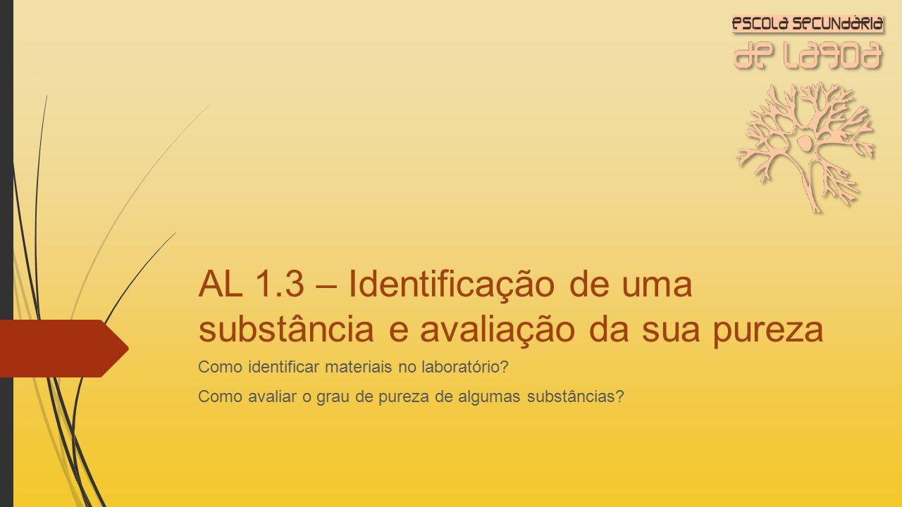 AL 1.3 – Identificação de uma substância e avaliação da sua pureza