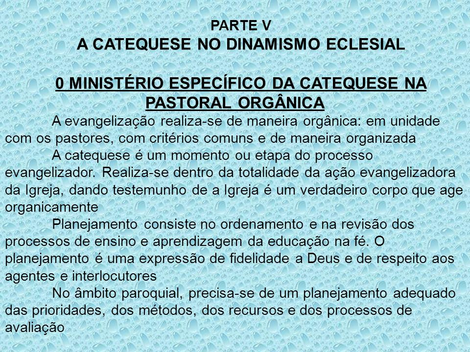 A CATEQUESE NO DINAMISMO ECLESIAL