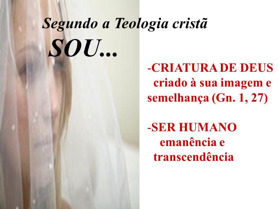 SOU... Segundo a Teologia cristã CRIATURA DE DEUS