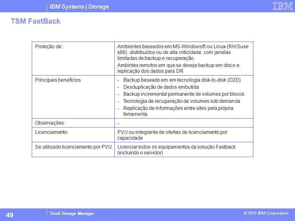 TSM FastBack 49 IBM Systems | Storage Proteção de: