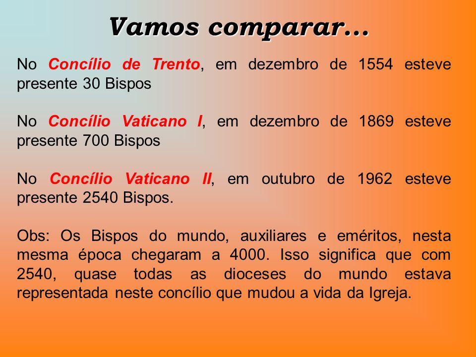 Vamos comparar... No Concílio de Trento, em dezembro de 1554 esteve presente 30 Bispos.