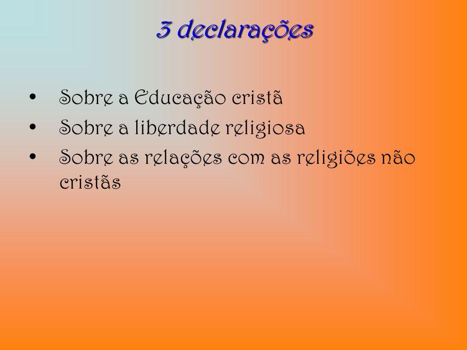 3 declarações Sobre a Educação cristã Sobre a liberdade religiosa