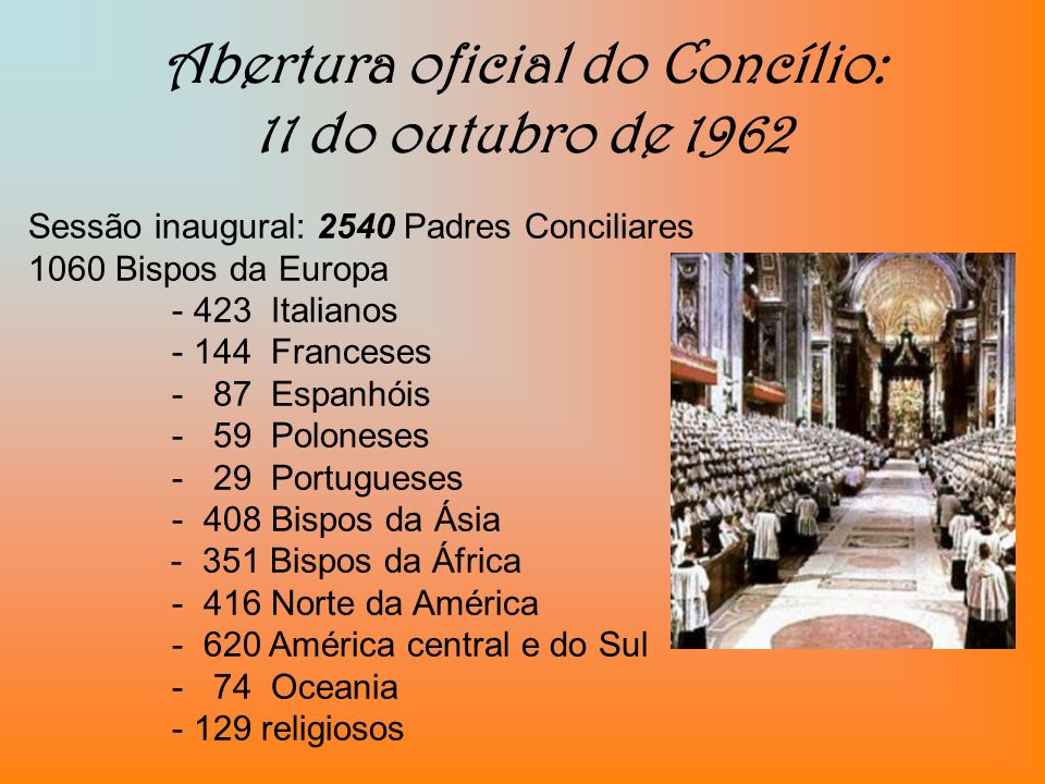 Abertura oficial do Concílio: 11 do outubro de 1962
