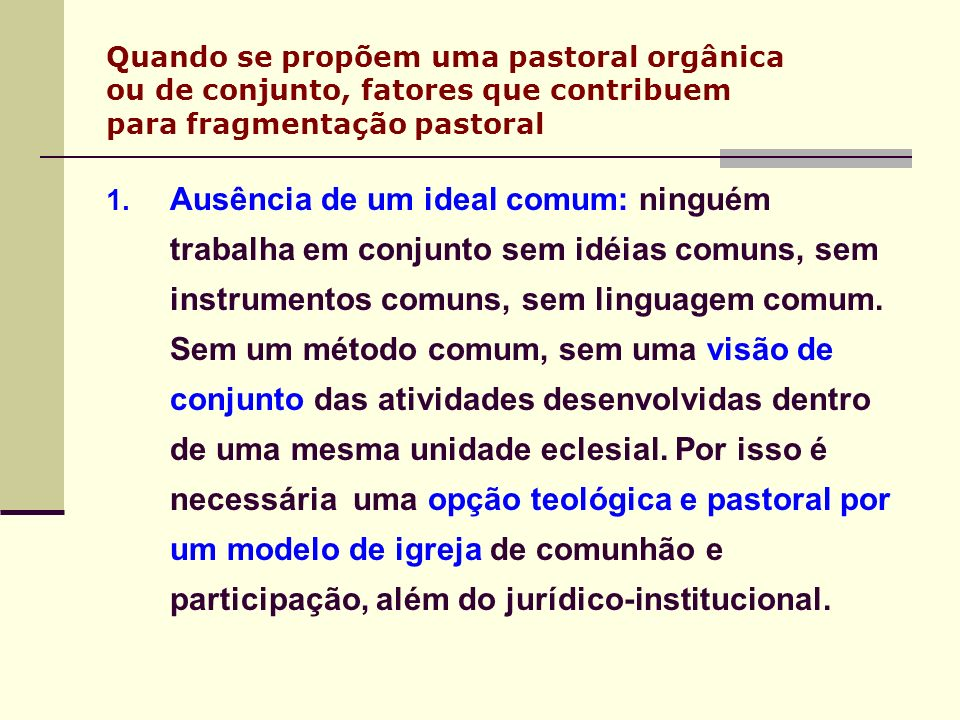 Quando se propõem uma pastoral orgânica ou de conjunto, fatores que contribuem para fragmentação pastoral