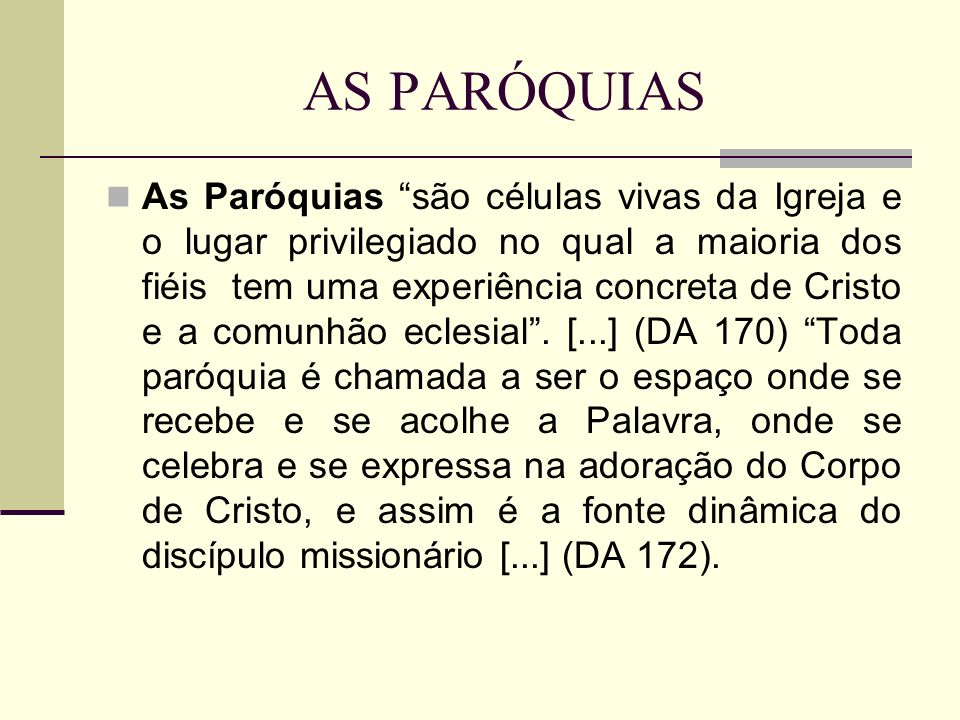 AS PARÓQUIAS