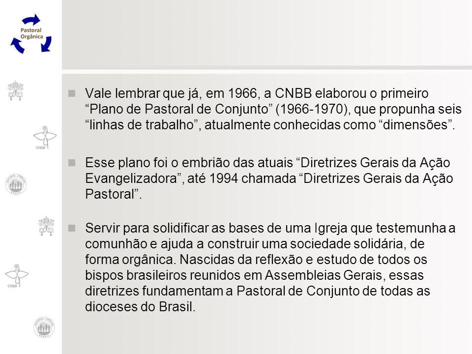 Vale lembrar que já, em 1966, a CNBB elaborou o primeiro Plano de Pastoral de Conjunto (1966-1970), que propunha seis linhas de trabalho , atualmente conhecidas como dimensões .
