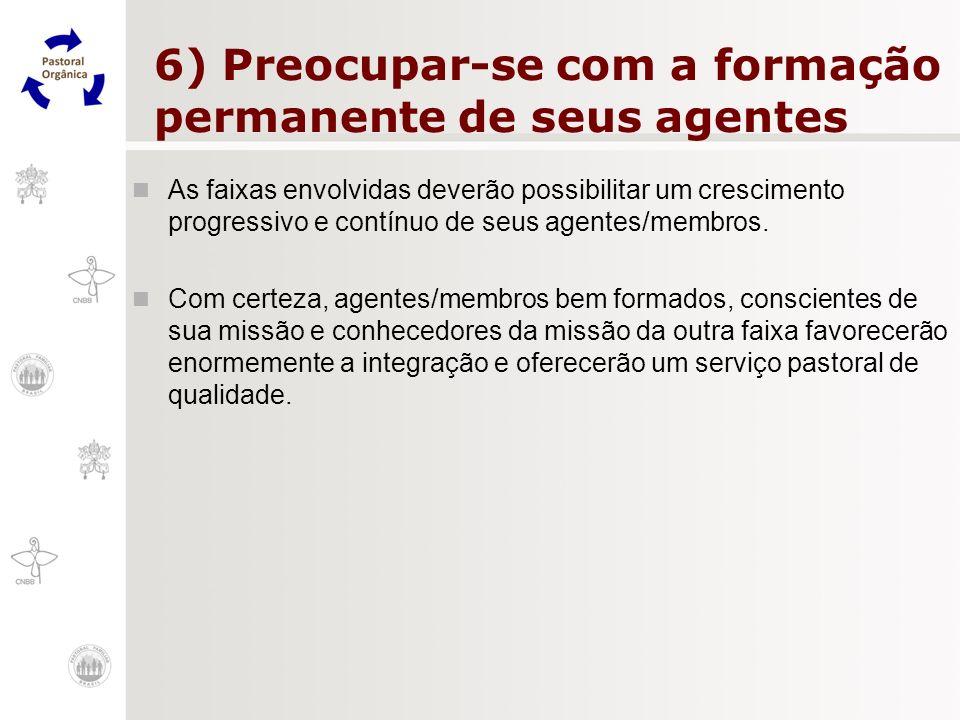 6) Preocupar-se com a formação permanente de seus agentes