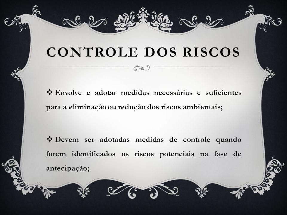 CONTROLE DOS RISCOS Envolve e adotar medidas necessárias e suficientes para a eliminação ou redução dos riscos ambientais;
