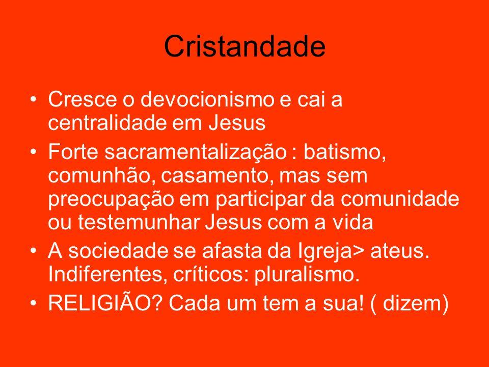 Cristandade Cresce o devocionismo e cai a centralidade em Jesus