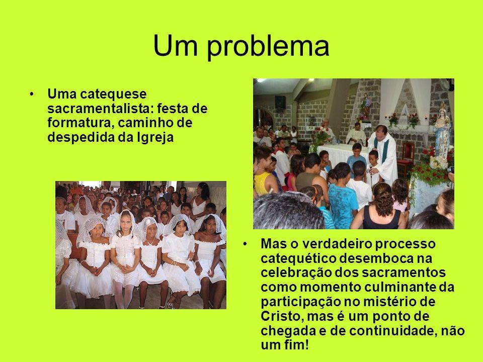 Um problemaUma catequese sacramentalista: festa de formatura, caminho de despedida da Igreja.