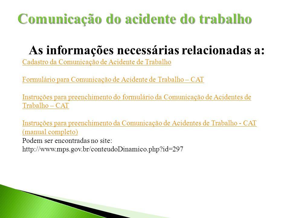 Comunicação do acidente do trabalho