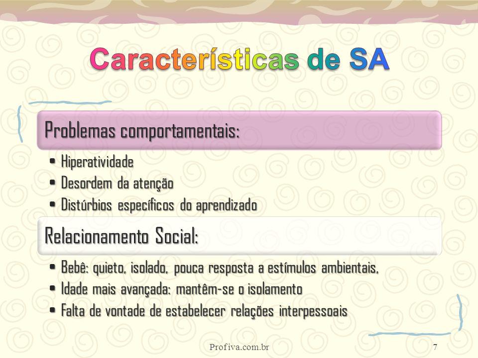 Características de SA Prof iva.com.br Problemas comportamentais: