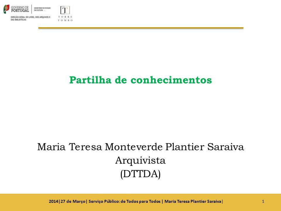 Partilha de conhecimentos Maria Teresa Monteverde Plantier Saraiva Arquivista (DTTDA)