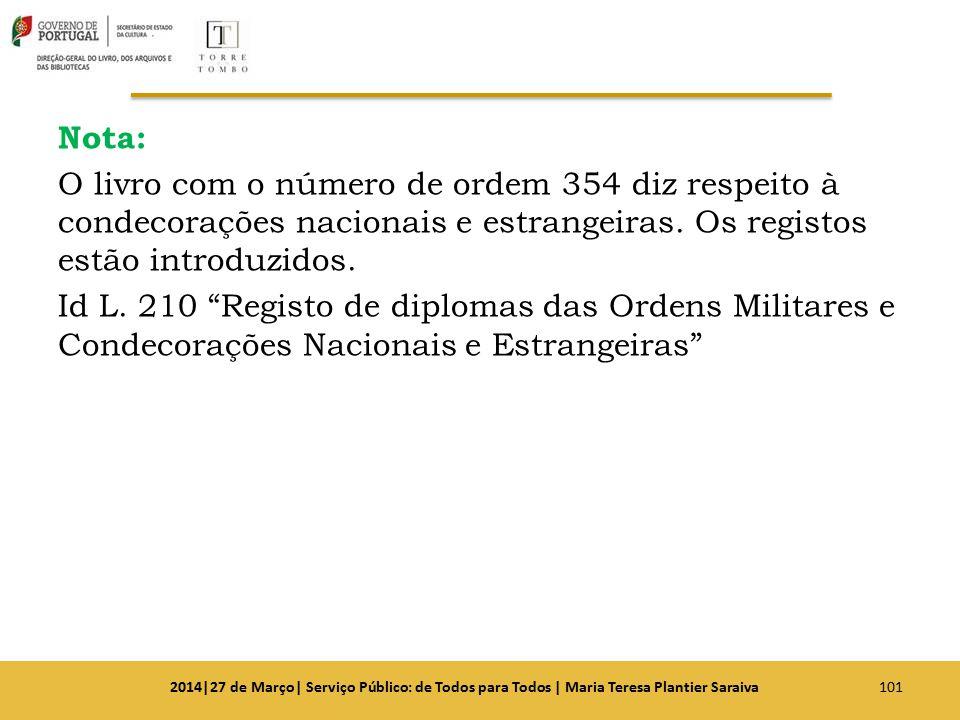 Nota: O livro com o número de ordem 354 diz respeito à condecorações nacionais e estrangeiras. Os registos estão introduzidos. Id L. 210 Registo de diplomas das Ordens Militares e Condecorações Nacionais e Estrangeiras