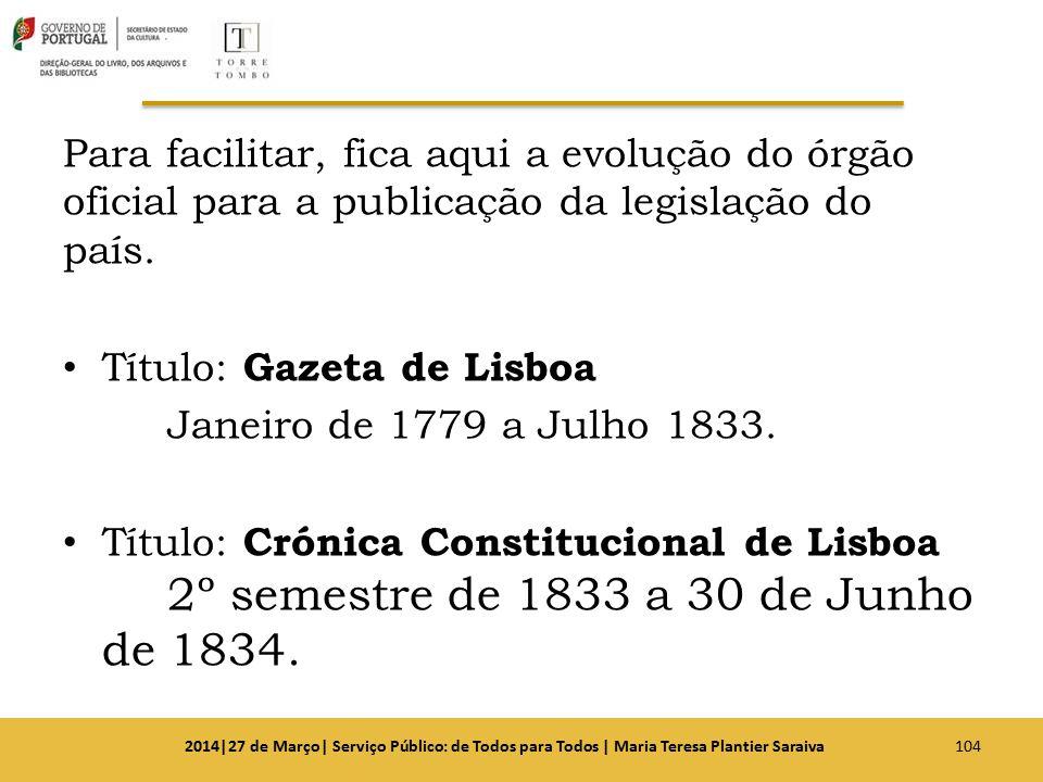 Título: Gazeta de Lisboa Janeiro de 1779 a Julho 1833.