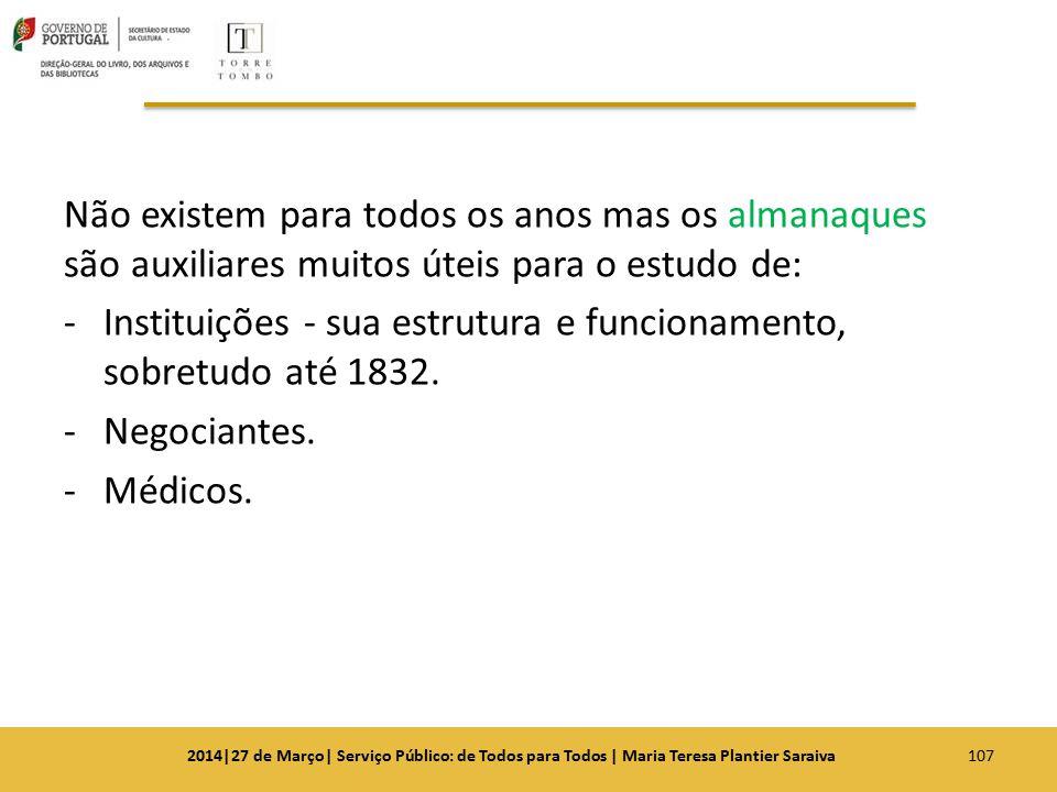 Instituições - sua estrutura e funcionamento, sobretudo até 1832.