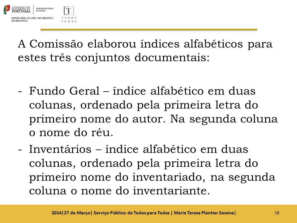 A Comissão elaborou índices alfabéticos para estes três conjuntos documentais: