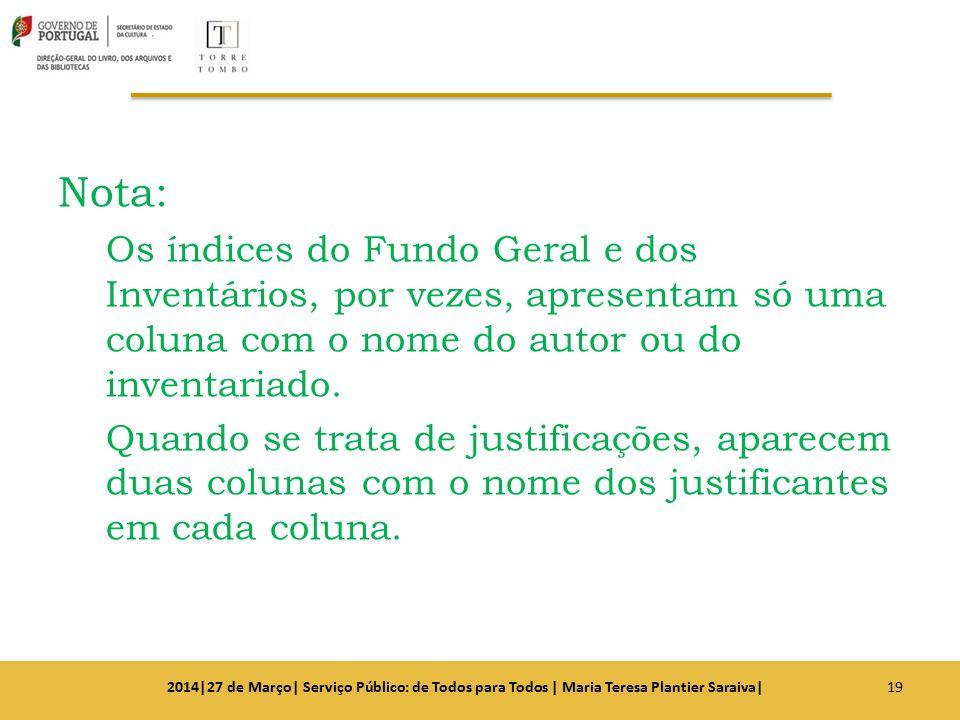 Nota: Os índices do Fundo Geral e dos Inventários, por vezes, apresentam só uma coluna com o nome do autor ou do inventariado.