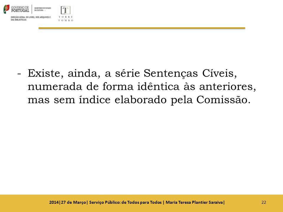 Existe, ainda, a série Sentenças Cíveis, numerada de forma idêntica às anteriores, mas sem índice elaborado pela Comissão.
