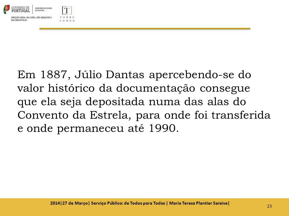 Em 1887, Júlio Dantas apercebendo-se do valor histórico da documentação consegue que ela seja depositada numa das alas do Convento da Estrela, para onde foi transferida e onde permaneceu até 1990.
