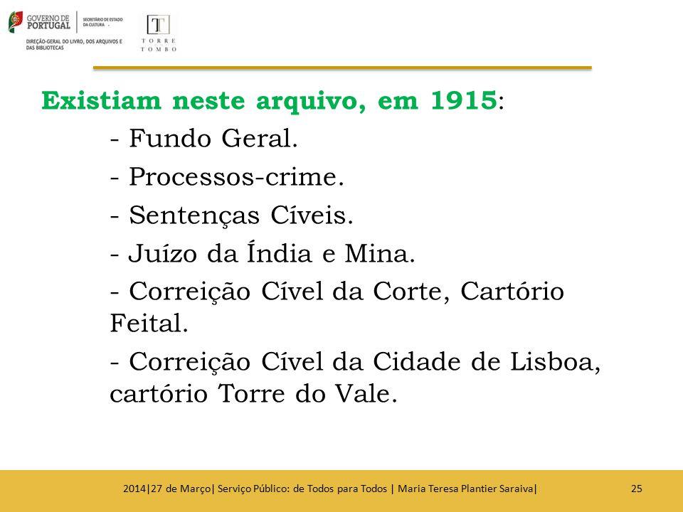 Existiam neste arquivo, em 1915: - Fundo Geral. - Processos-crime