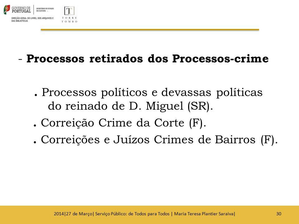 - Processos retirados dos Processos-crime