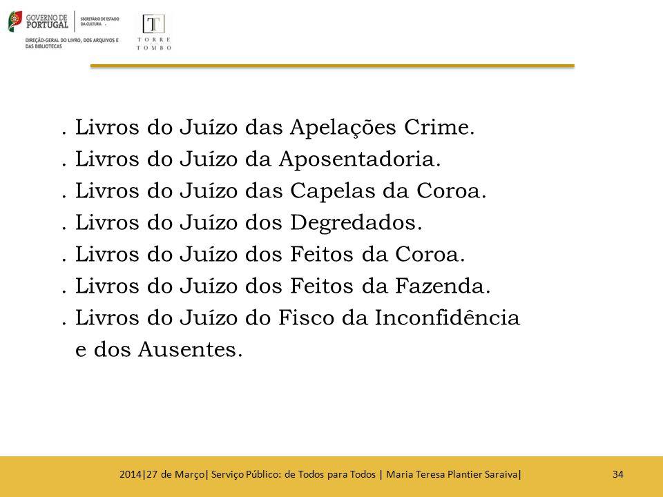 Livros do Juízo das Apelações Crime. Livros do Juízo da Aposentadoria