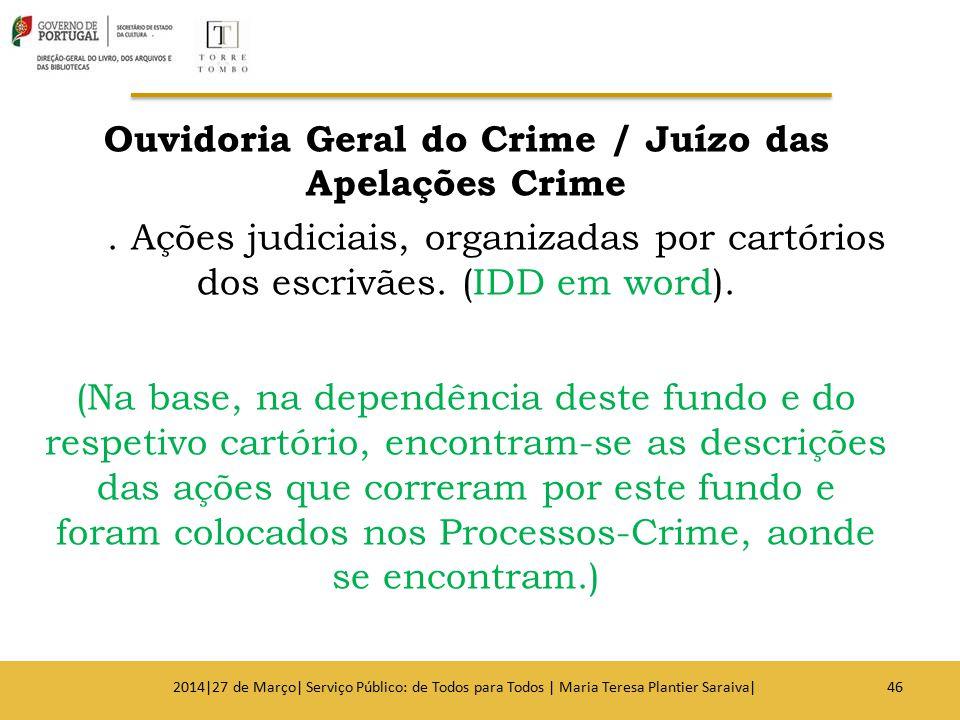 Ouvidoria Geral do Crime / Juízo das Apelações Crime