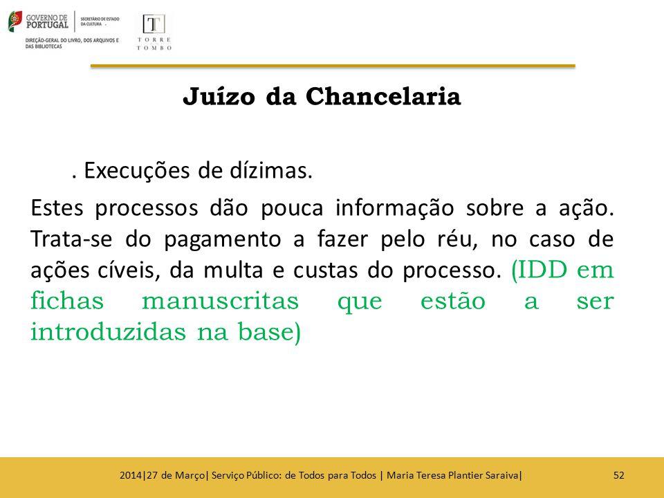 Juízo da Chancelaria. Execuções de dízimas