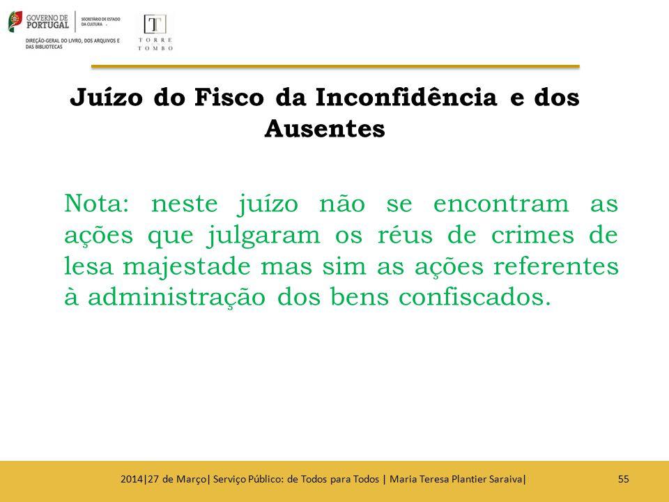 Juízo do Fisco da Inconfidência e dos Ausentes Nota: neste juízo não se encontram as ações que julgaram os réus de crimes de lesa majestade mas sim as ações referentes à administração dos bens confiscados.