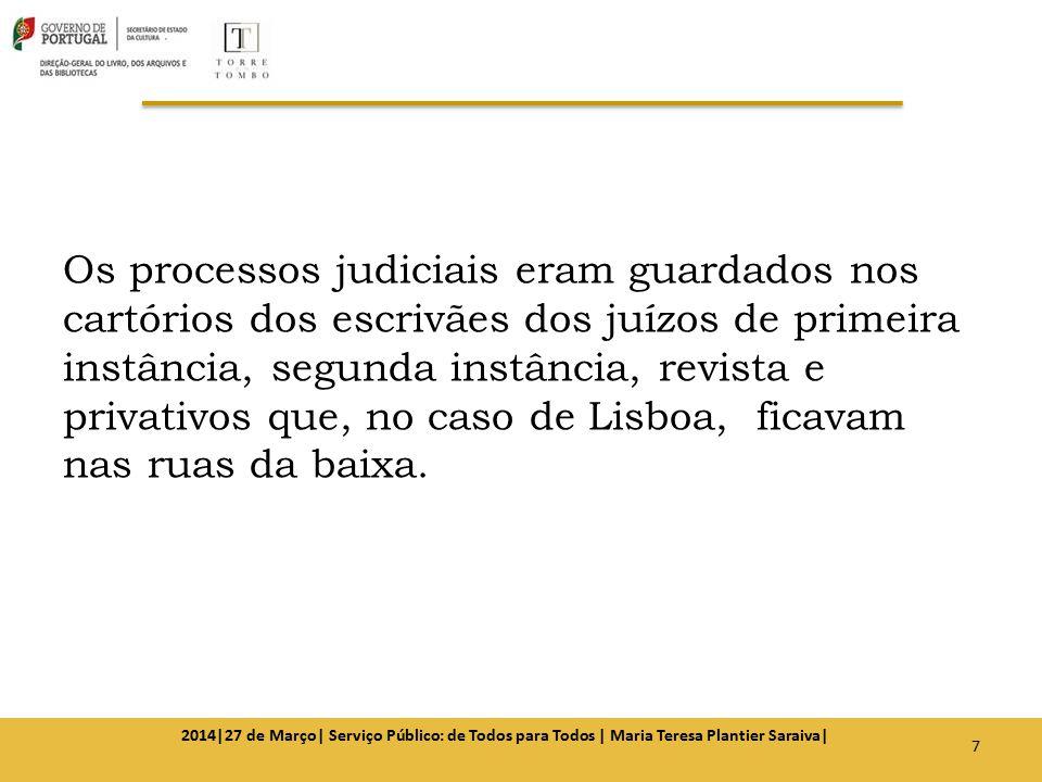 Os processos judiciais eram guardados nos cartórios dos escrivães dos juízos de primeira instância, segunda instância, revista e privativos que, no caso de Lisboa, ficavam nas ruas da baixa.