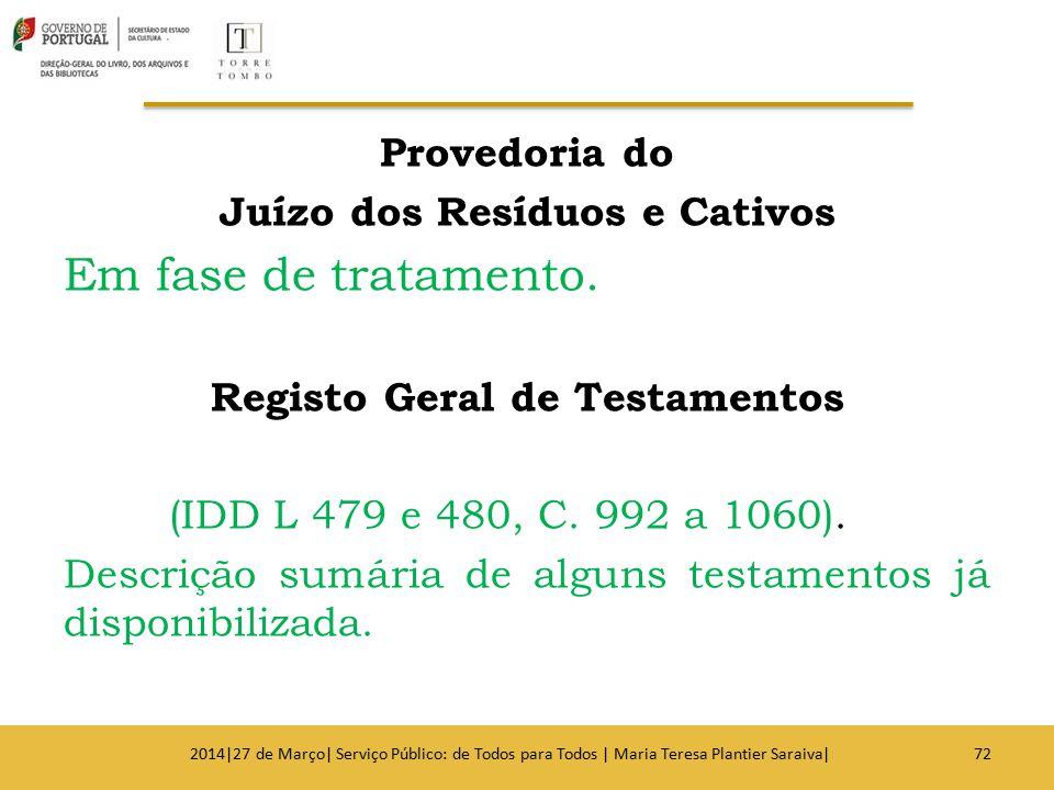 Juízo dos Resíduos e Cativos Registo Geral de Testamentos