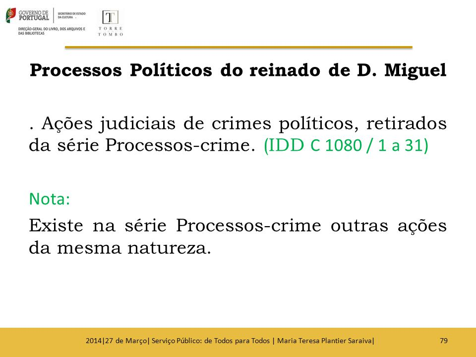 Processos Políticos do reinado de D. Miguel