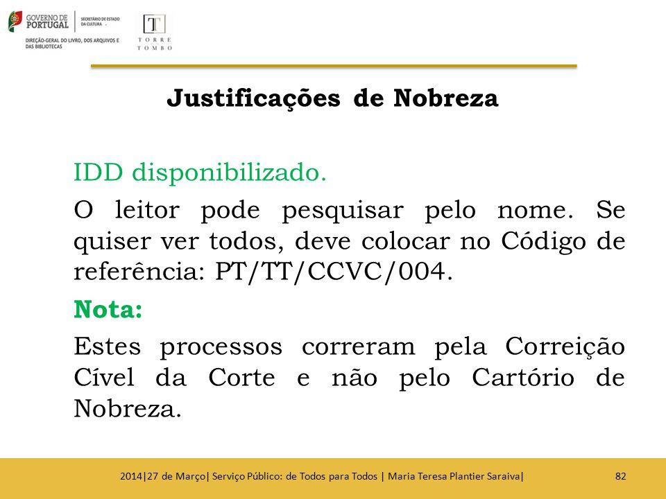 Justificações de Nobreza IDD disponibilizado