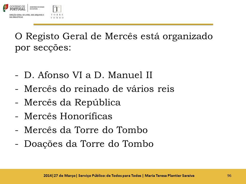 O Registo Geral de Mercês está organizado por secções: