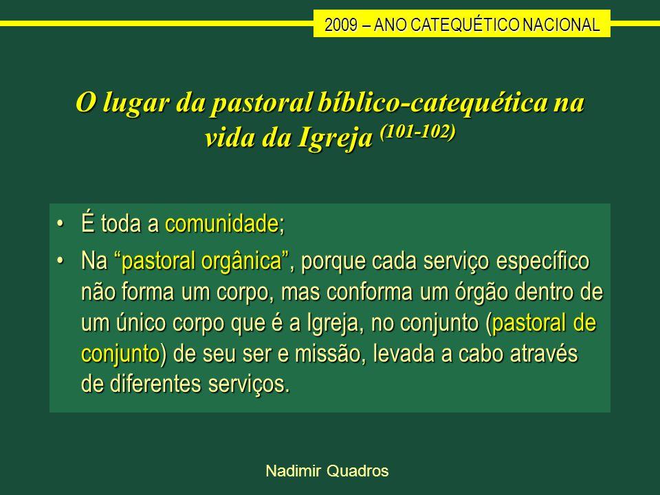 O lugar da pastoral bíblico-catequética na vida da Igreja (101-102)