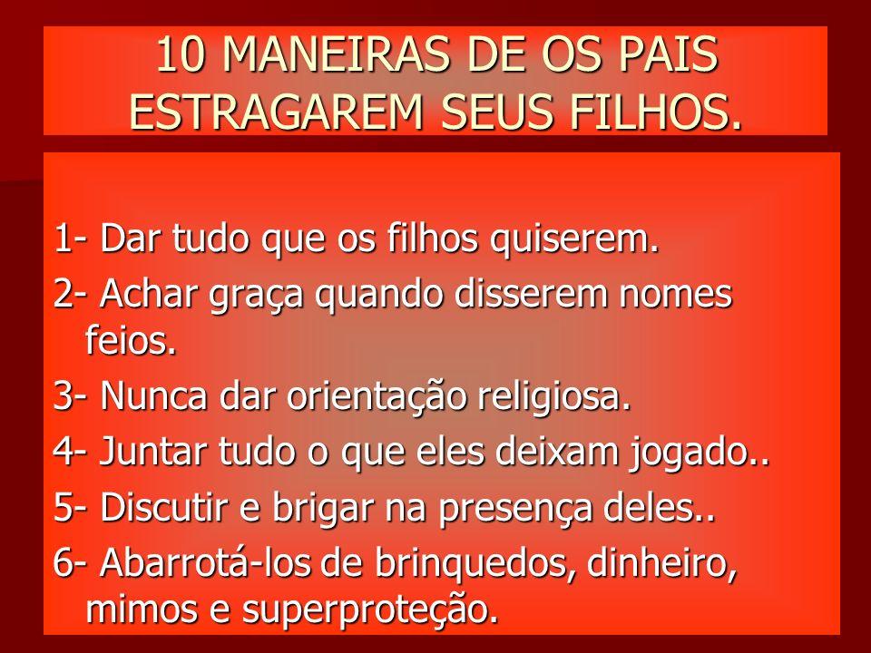 10 MANEIRAS DE OS PAIS ESTRAGAREM SEUS FILHOS.