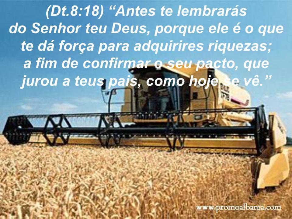 (Dt.8:18) Antes te lembrarás do Senhor teu Deus, porque ele é o que