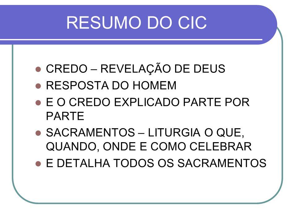 RESUMO DO CIC CREDO – REVELAÇÃO DE DEUS RESPOSTA DO HOMEM